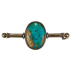Antique Edwardian Natural Turquoise 14k Gold Brooch