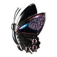 Rainbow Titanium Druzy Pink Sapphire 14k Gold Butterfly Brooch
