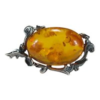 Natural Russian Baltic Amber Sterling Silver 925 Vine Brooch Pin