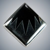Striking Inlay Onyx Sterling 925 Brooch Pendant