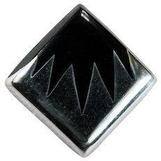 Striking Inlay Onyx Sterling 925 Brooch Pendant