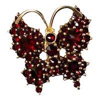 Vintage Bohemian Garnet Butterfly Brooch 900 Sterling 14k Gold Vermeil