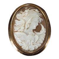NYX Greek Goddess Of Night Cameo 14k Rose Gold Brooch Pendant