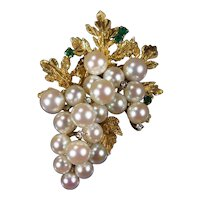 Emerald Diamond Akoya Pearl Grapes Brooch 14k Gold Cultured Pearl Hand Crafted Etched Grape Leaves