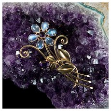 Natural Moonstone Amethyst Flower Brooch 14k Gold WAB Wordley Allsopp Bliss Art Deco