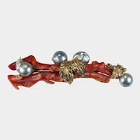 Natural Mediterranean Branch Coral South Sea Baroque Pearl Brooch 14k