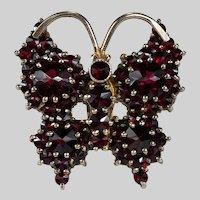 Vintage Bohemian Garnet Butterfly Brooch 900 Sterling Gold Vermeil