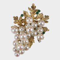 Emerald Diamond Pearl Grape Brooch 14k Gold Cultured Pearl Hand Crafted Etched Grape Leaves