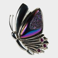Rainbow Titanium Pink Sapphire 14.60g 14k White Gold Butterfly Brooch