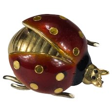 Guilloche Enamel Ladybug Brooch 18k Gold Open Wing Ladybug Scatter Pin