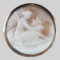 Victorian Winged Fairy Hand Carved Cameo Brooch 14k Rose Gold Antique Pixie Cameo Pendant