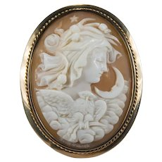 NYX Greek Goddess Of Night Cameo 14k Rose Gold Brooch Pendant