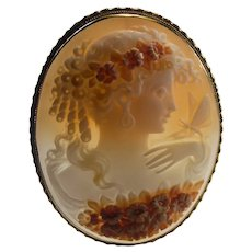 Large 3 Color Italian Carved Shell Cameo 18k Gold Brooch Pendant