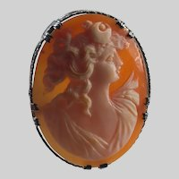 Roman Goddess Of The Moon Luna Hand Carved Shell Cameo Brooch Sterling Silver