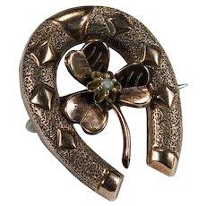 Antique Victorian Horseshoe Pearl Shamrock Brooch 14k Rose Gold Sterling Backed Articulated