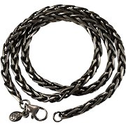 Vintage Sterling Chain 925 Oxidized Designer Spiga Chain Choker Necklace