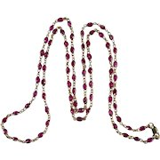 "Ruby Bezel Set Gemstone Chain 20ctw 28"" 14k Gold Ruby By The Yard Chain Necklace"