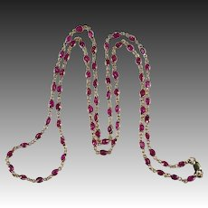 """Ruby Bezel Set Gemstone Chain 20ctw 28"""" 14k Gold Ruby By The Yard Chain Necklace"""