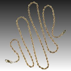 Yellow Gold Rope Chain Necklace 14k Gold Classic Rope Chain