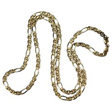 "Vintage Solid Figaro Link Chain Italian Designer 14k Gold 22"" 3.85mm 13.85g Figaro Chain Necklace"