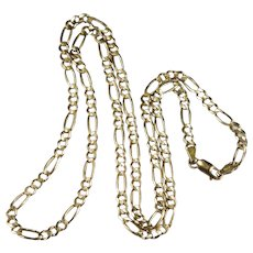 "Vintage Solid Figaro Link Chain Italian Designer 10k Gold 25"" 4.15mm 13.25g Figaro Chain Necklace"