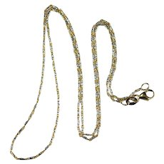 14k Gold Twist Link Chain 585 Two Tone Mixed White Yellow Gold Chain Necklace