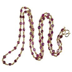 "Bezel Set Ruby Gemstone Chain 14.0ctw 25.5"" 14k Gold Ruby By The Yard Chain Necklace"