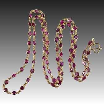 """Bezel Set Ruby Gemstone Chain 14.0ctw 25.5"""" 14k Gold Ruby By The Yard Chain Necklace"""