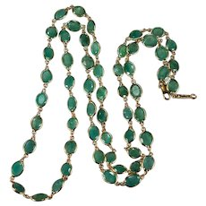 "Emerald Bezel Set Gemstone Chain 33ctw 14k Gold 27"" Emerald By The Yard Necklace"