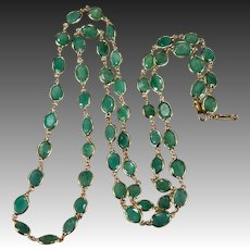 "Emerald Bezel Set Gemstone Chain 33ctw 14k Gold 27"" Emerald By The Yard Necklace"