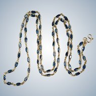 "Sapphire Gemstone Chain 14k Gold Bezel Set Sapphire By The Yard Necklace 16.50ctw 26"""