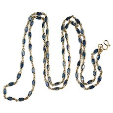 Sapphire Gemstone Chain 14k Gold Bezel Set Sapphire By The Yard Necklace 16.50ctw 26""