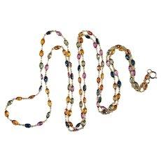 "Opera Length Sapphire Necklace 36"" 14k Gold 22.80ctw Sapphire By The Yard Bezel Set Gemstone Chain"