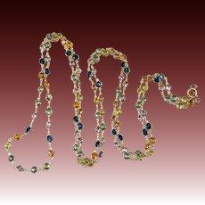 "Opera Length 36"" Sapphire By The Yard Bezel Set Gemstone Chain Necklace 14k 24.60ctw"
