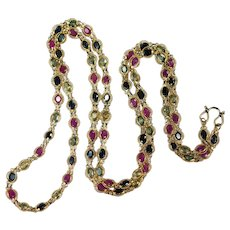 Ruby Sapphire By The Yard 18k Gold Bezel Set Gemstone Chain