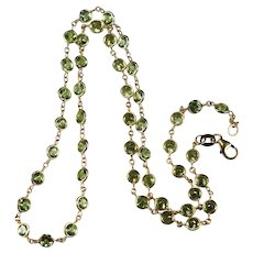 Peridot Necklace By The Yard 11.50ctw 14k Gold Bezel Set Peridot Gemstone Chain