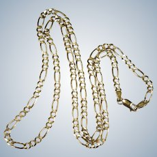 "Vintage Solid Figaro Link Chain Italian Designer 10k Gold 25"" 13.25g Figaro Chain Necklace"