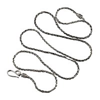 "Bali Wheat Link Chain 925 Sterling Silver 28"" Oxidized Vintage Chain Necklace"