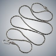 """Bali Wheat Link Chain 925 Sterling Silver 28"""" Oxidized Vintage Chain Necklace"""