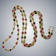 Ruby Sapphire By The Yard 11.50ctw 18k Gold Bezel Set Gemstone Chain