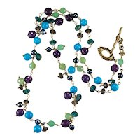 Turquoise Jade Amethyst Topaz Quartz Pearl 14k Gold Mixed Gemstone Chain