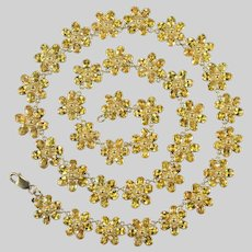 Yellow Sapphire Chain 18k Etruscan Style Flower Necklace 48ctw Sapphire By The Yard Gemstone Chain