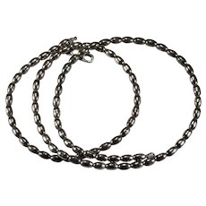 """Vintage Beaded Chain 925 Sterling Silver 24"""" Rice Bead Necklace"""