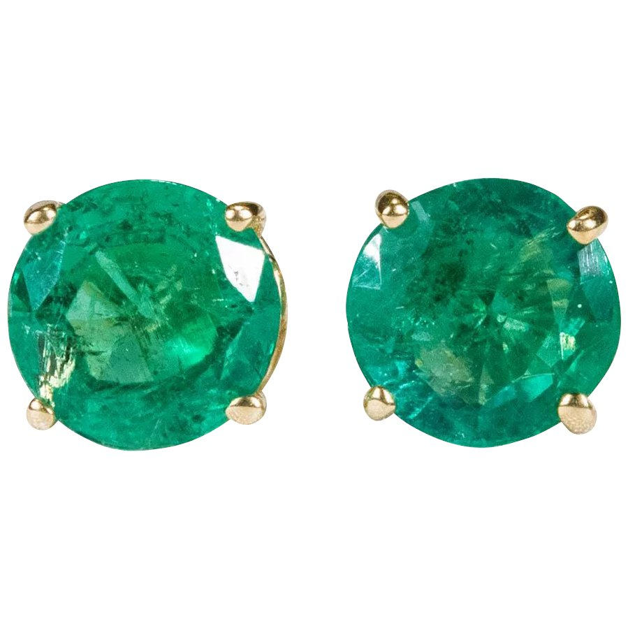 Natural Emerald Earrings 14k Gold