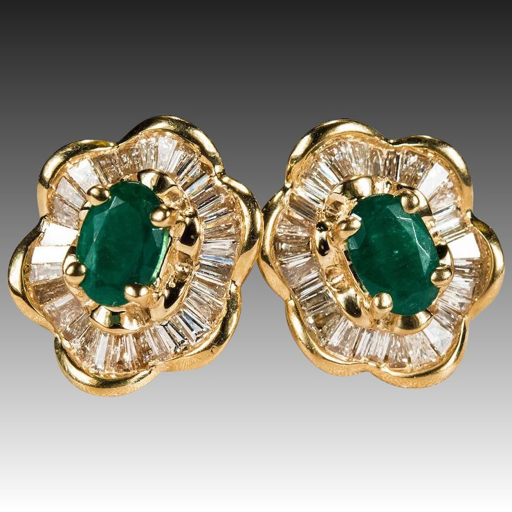 Ballerina Emerald Diamond Earrings 3ctw 14k Gold Stud Studs
