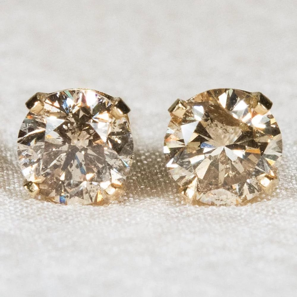 carat micro and diamond earrings stud fancy pave gold champagne unique halo bezel handmade yellow