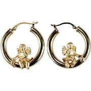Cherub Hoop Earrings 14k Gold Designer Carla Cupid Hoops