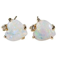 Natural Opal Heart Diamond Earrings 14k Gold Studs