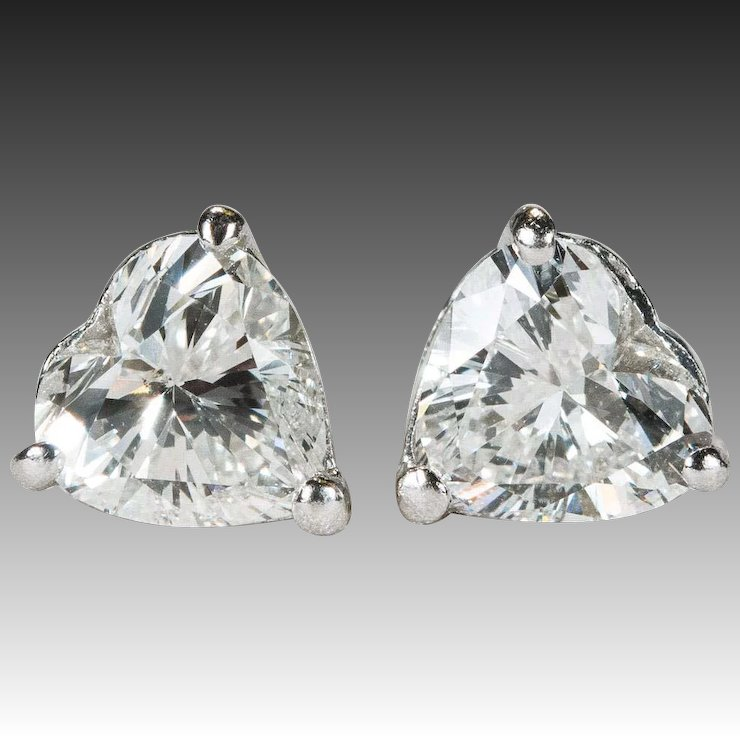 1 25ctw Heart Diamond Stud Earrings Platinum Solitaire Studs