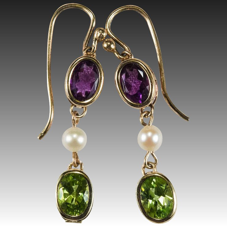 Attractive Suffragette Earrings Amethyst Peridot Pearl 12k Gold Dangle  GK78